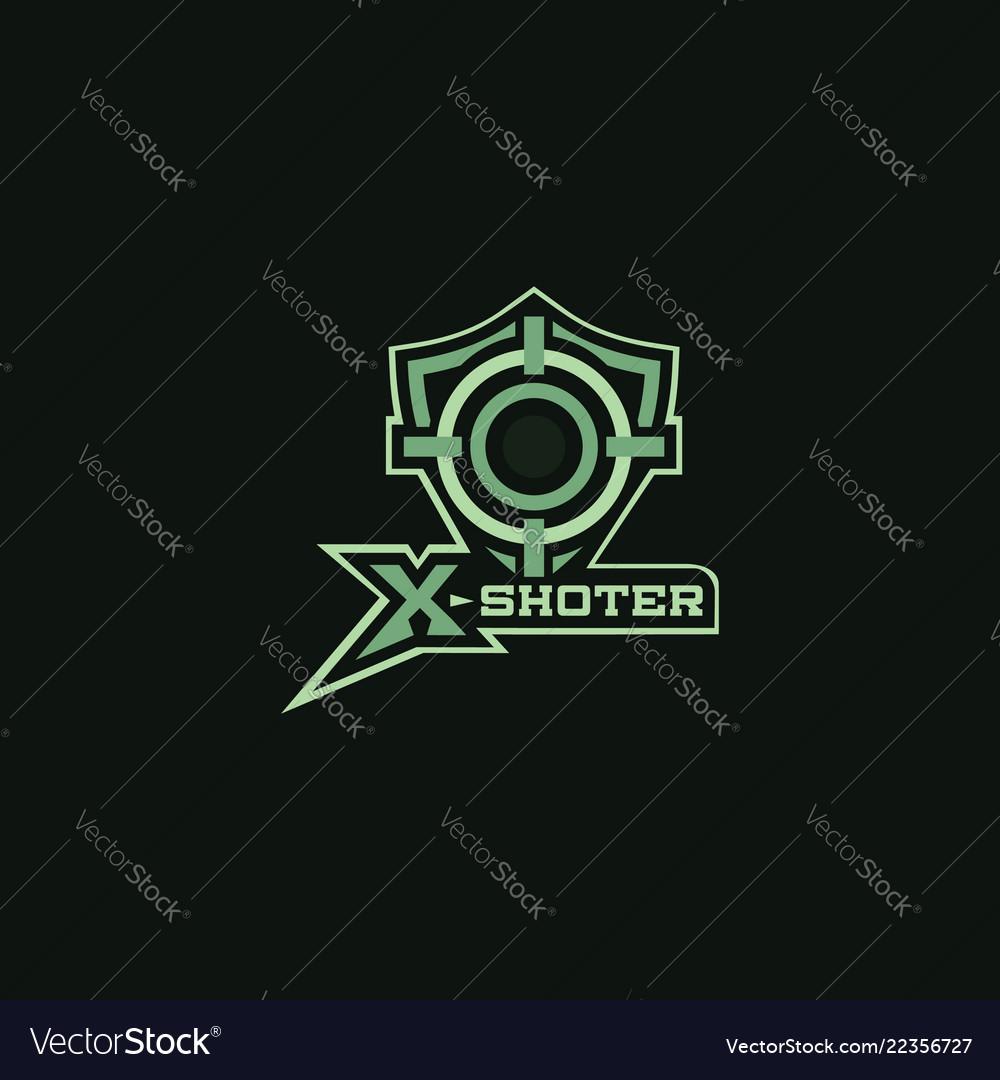 X shoter sniper symbols logo for outdorr hunting
