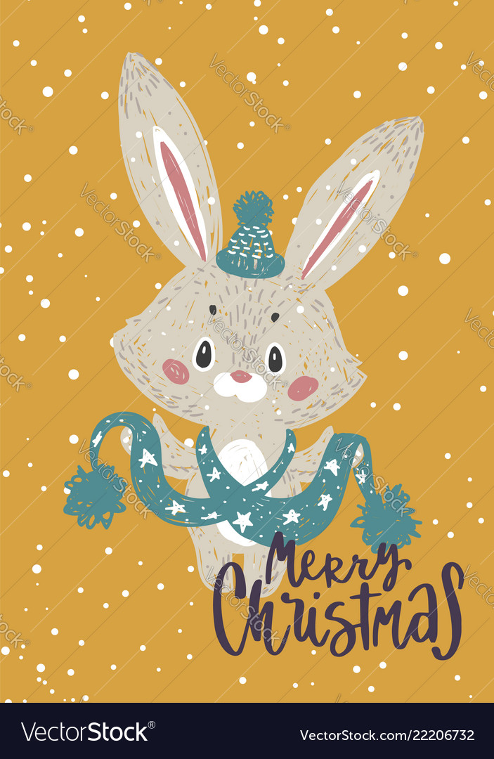 Christmas poster with bunny