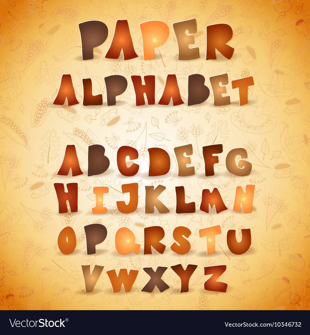 Colorful paper ABC letters Autumn alphabet