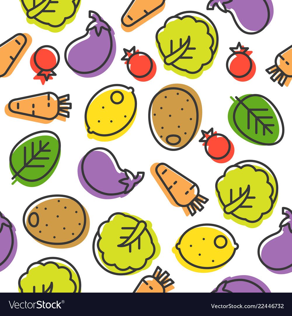 Colorful vegetable line seamless pattern chinese