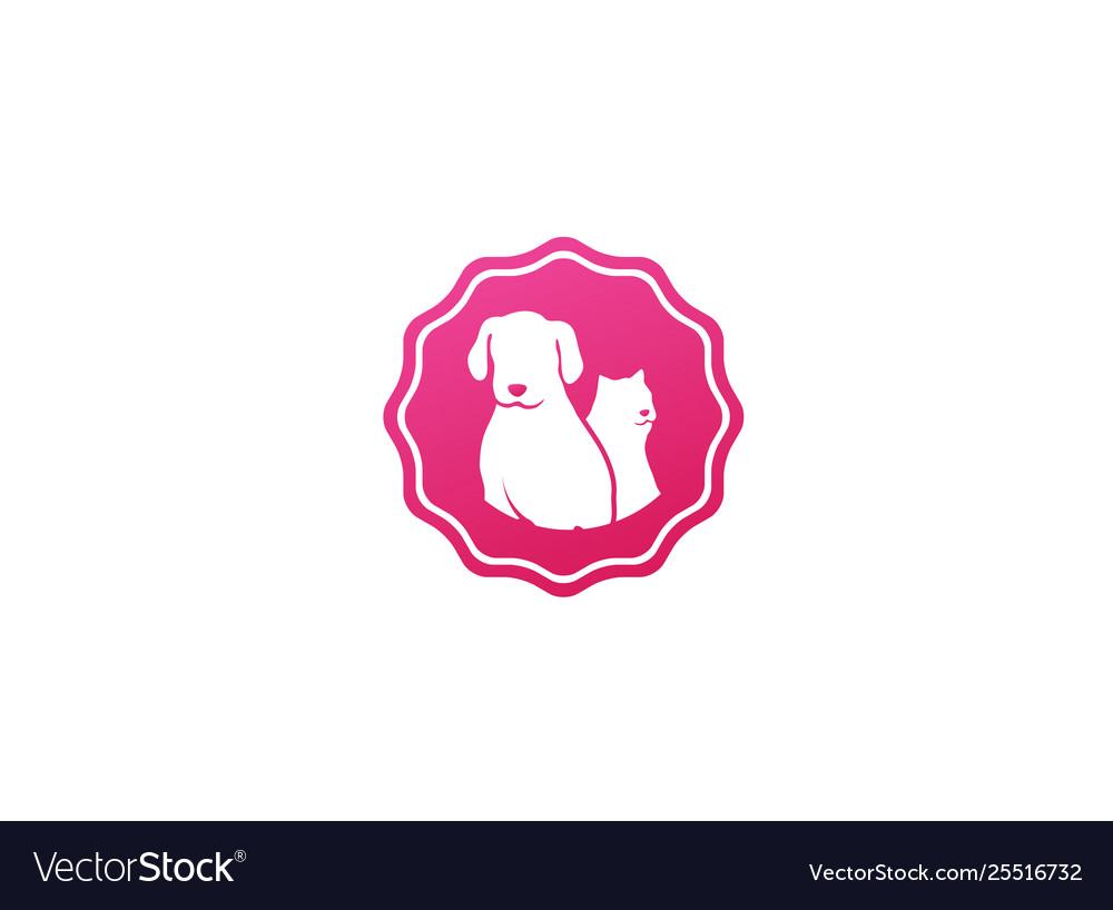 Dog beside cat a friendly pet family logo design