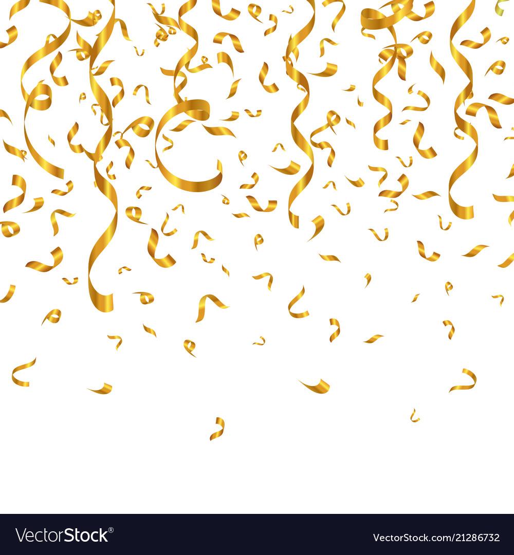 Gold glitter confetti and serpentine