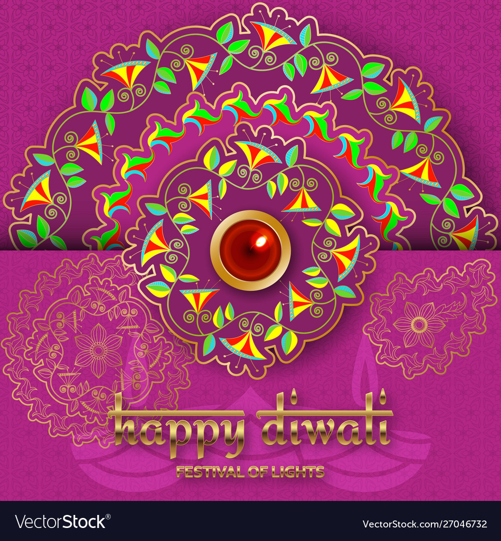 Happy diwali purple template with floral paisley