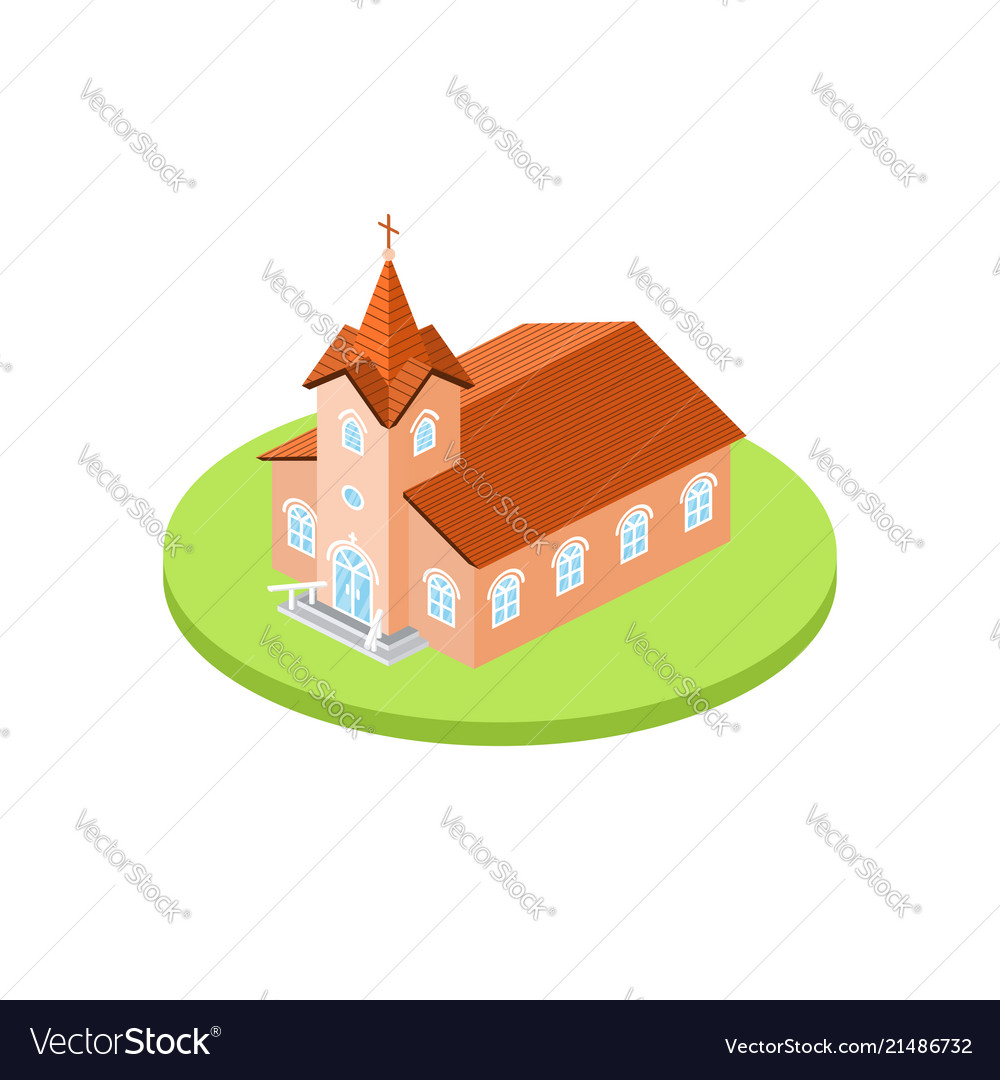 Isometric church icon for web design and