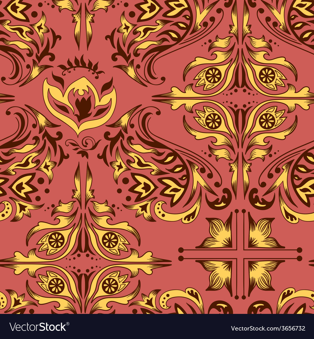 Red and yellow damask pattern