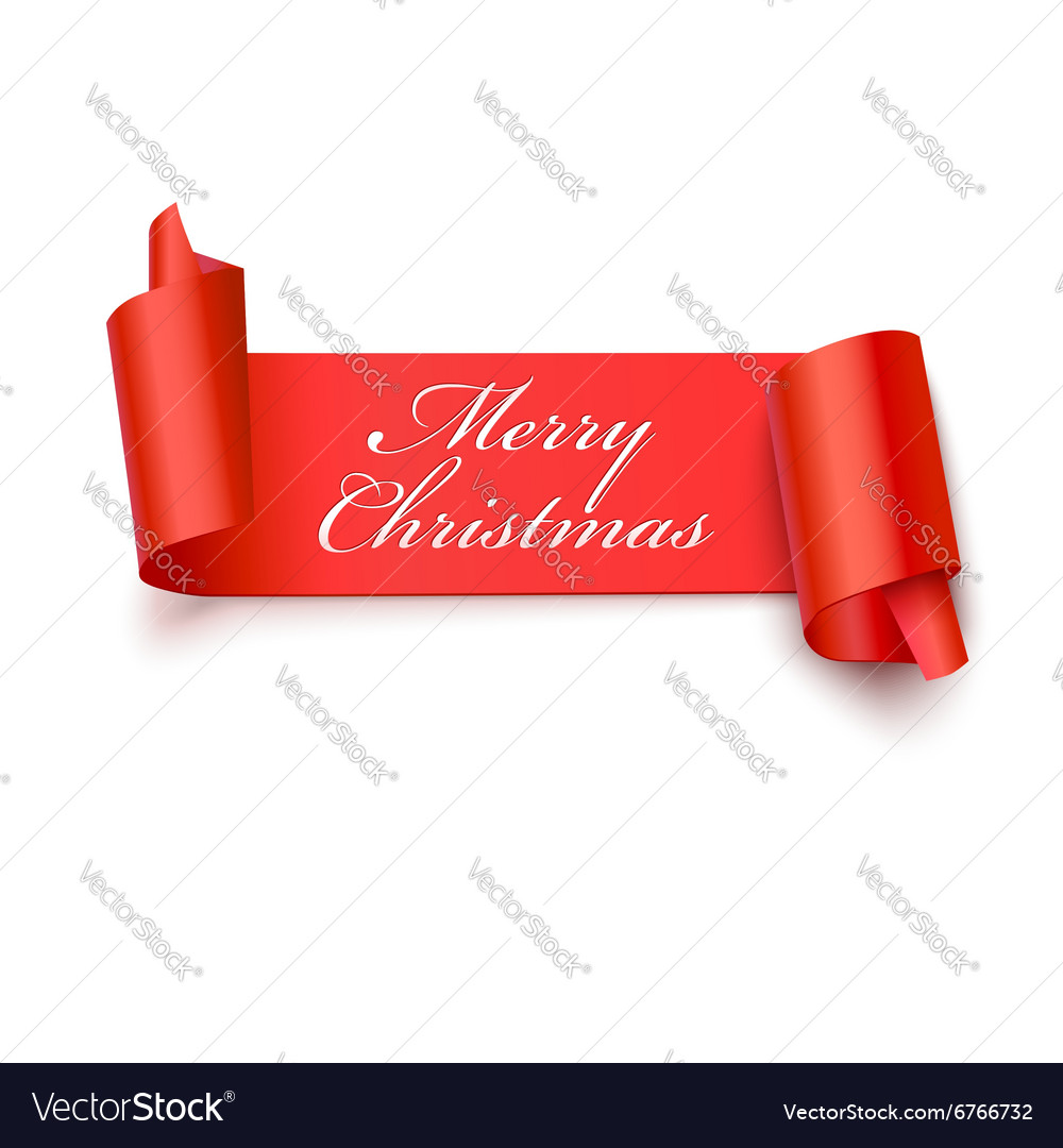 Red curved paper banner vector image