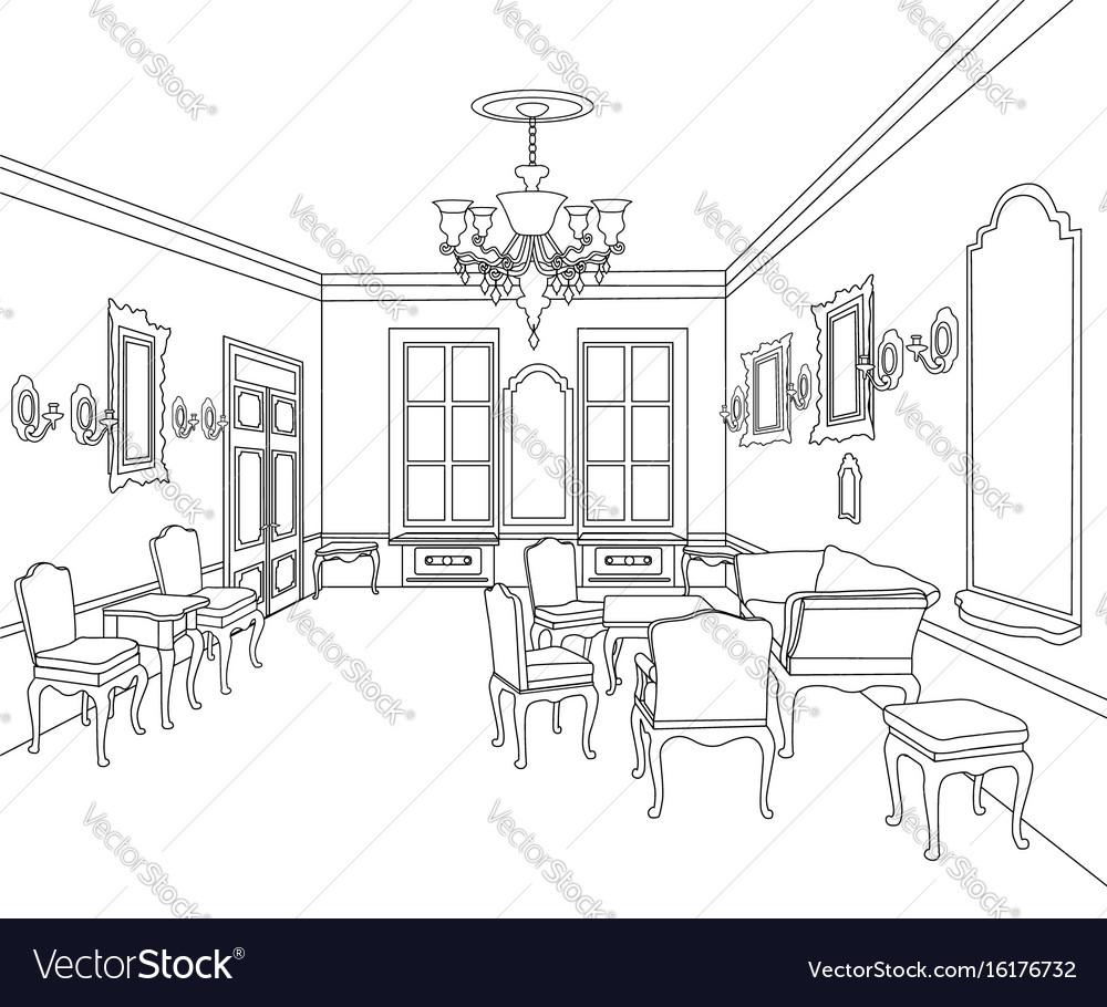 Retro Luxury Interior Sktch Furniture Blueprint Vector Image