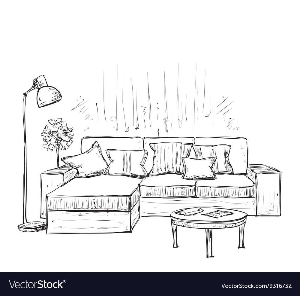 room interior sketch hand drawn sofa royalty free vector