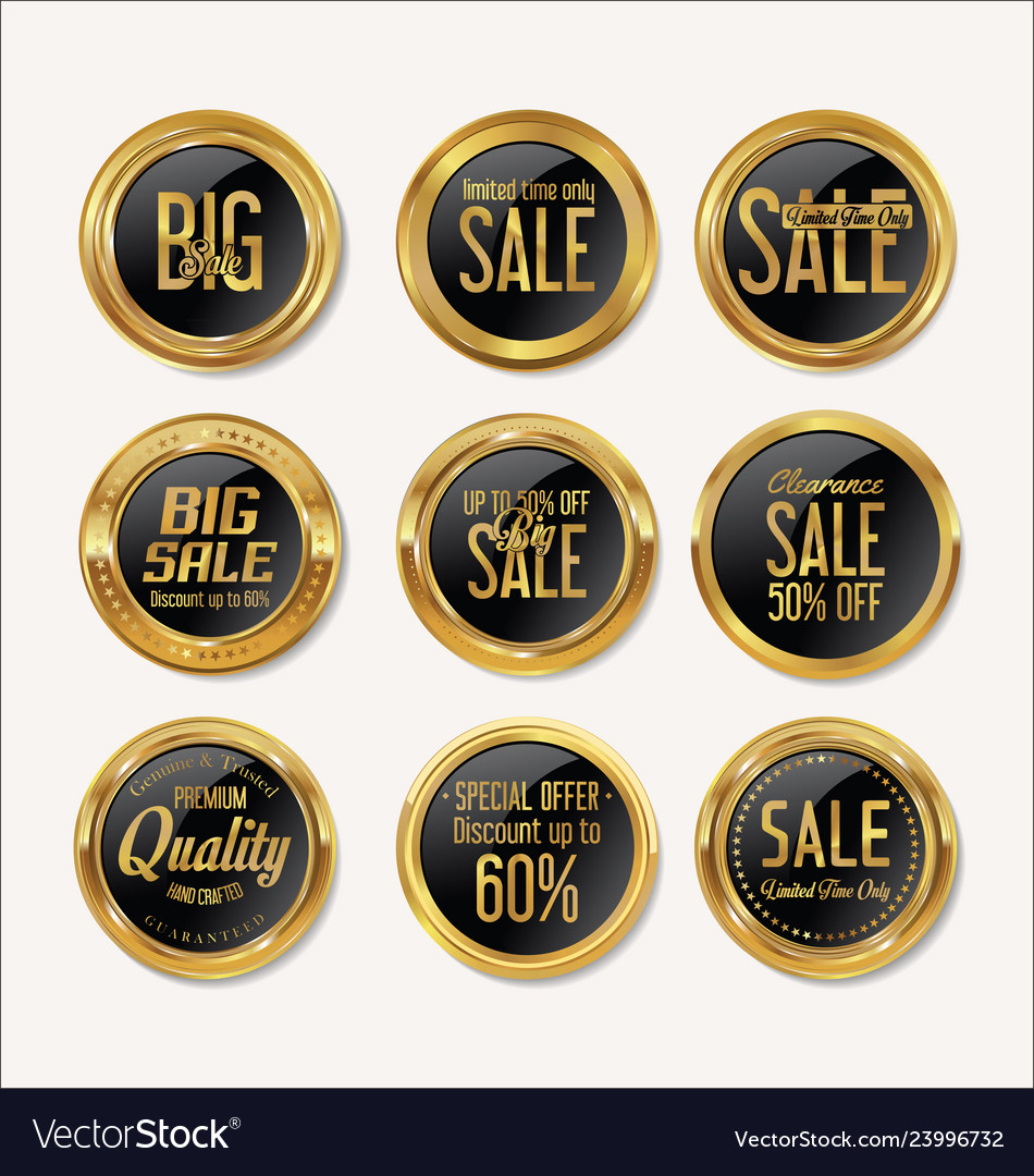 Sale retro vintage gold and black badges and