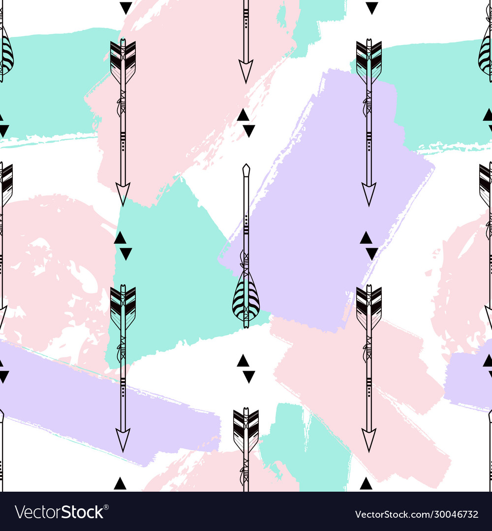 Seamless pattern with tribal arrows triangles and