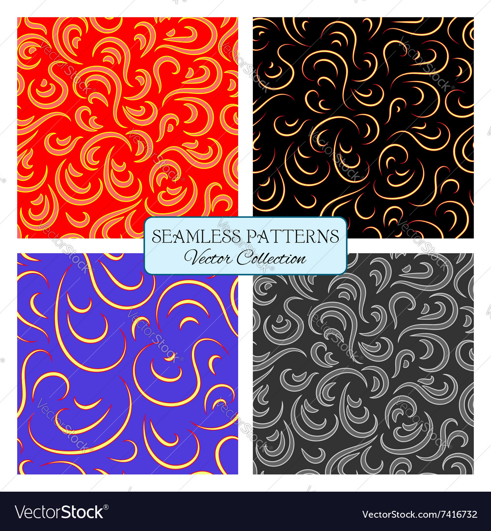 Set seamless pattern curl vector image