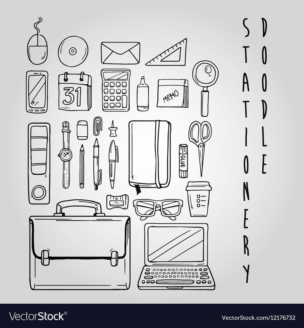 Stationery doodle set collection