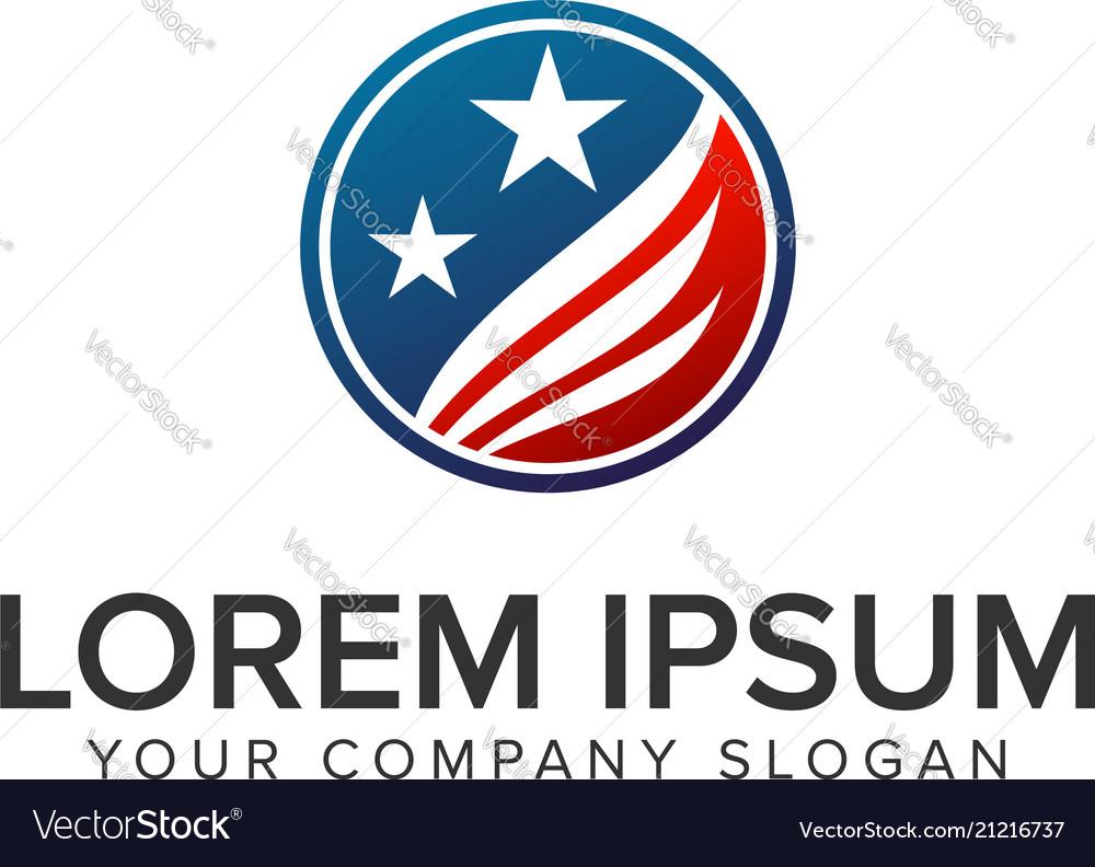 America usa logo circle design concept template