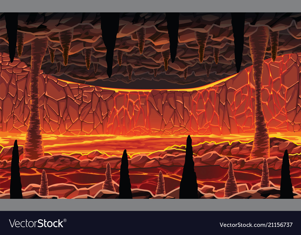 Background of landscape - hot cave with lava