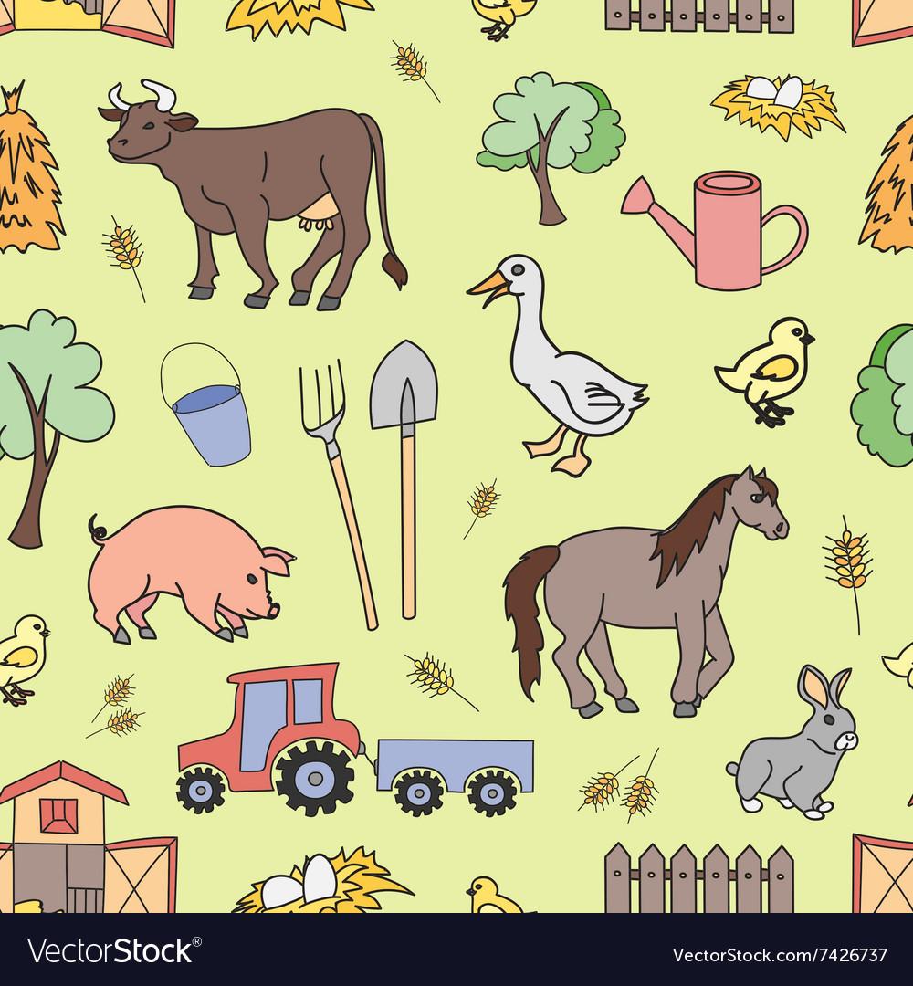 Doodle pattern farm