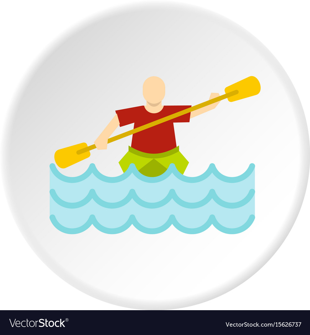 Kayaking water sport icon circle vector image