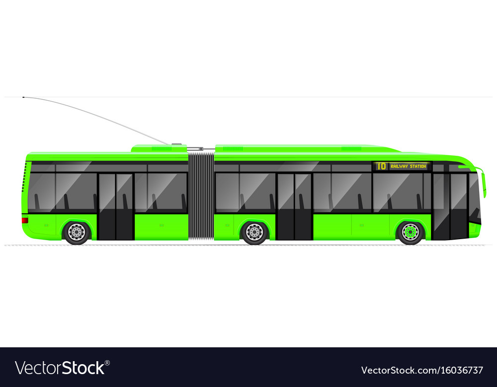 Large articulated trolleybus green with modern