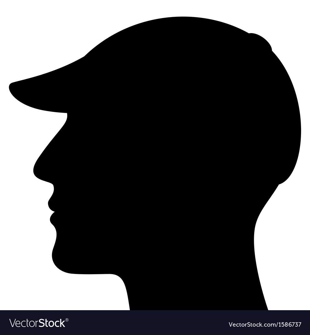 Man Head Silhouette with Cap vector image