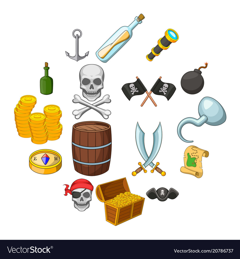 Pirate culture symbols icons set cartoon style