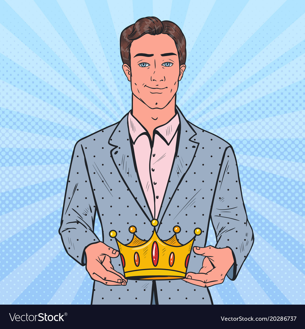 Pop Art Man Holding Golden Crown Firts Place Vector Image Alibaba.com offers 820 cartoon crown products. vectorstock