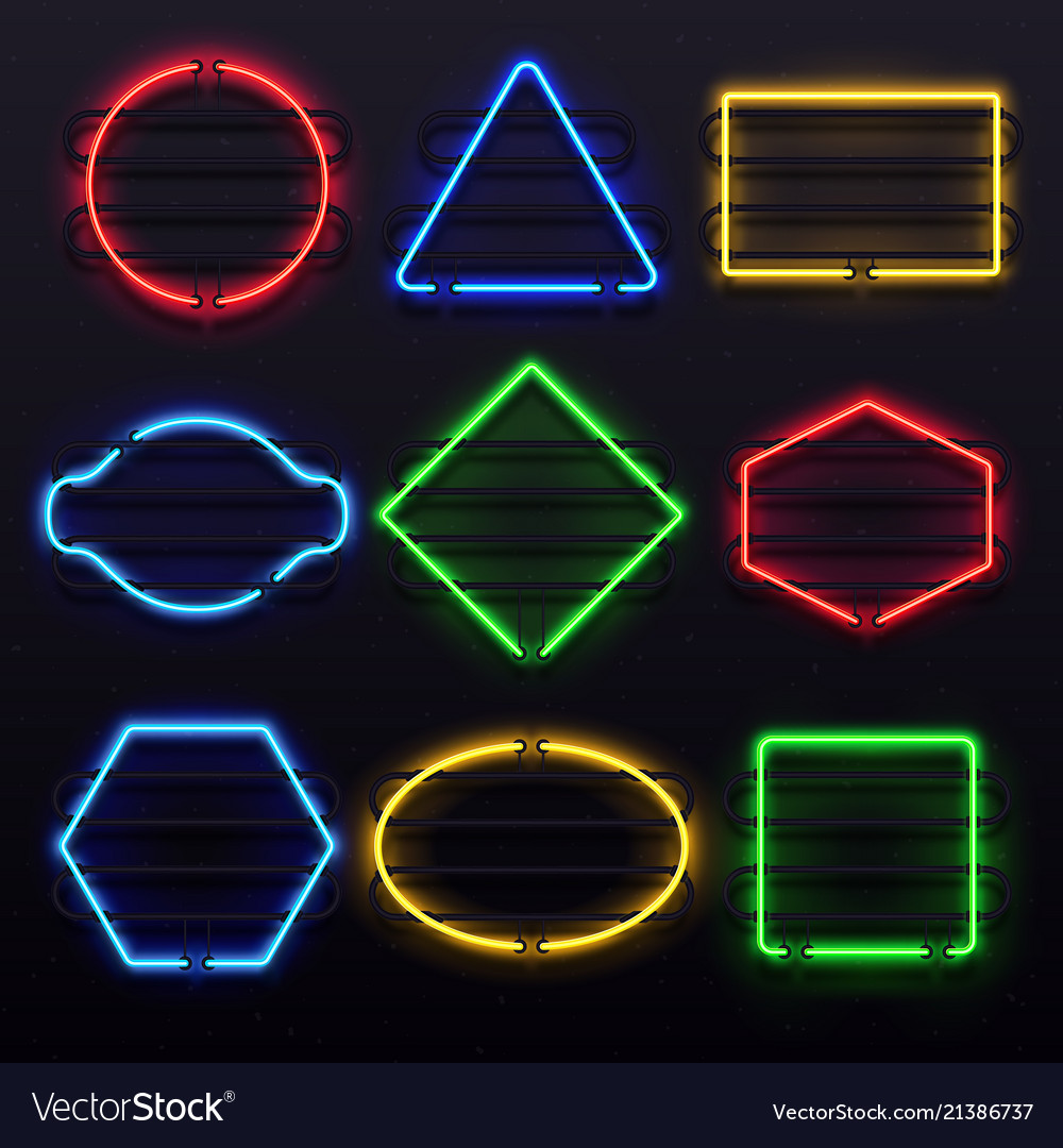 Realistic glowing neon frames vivid electric