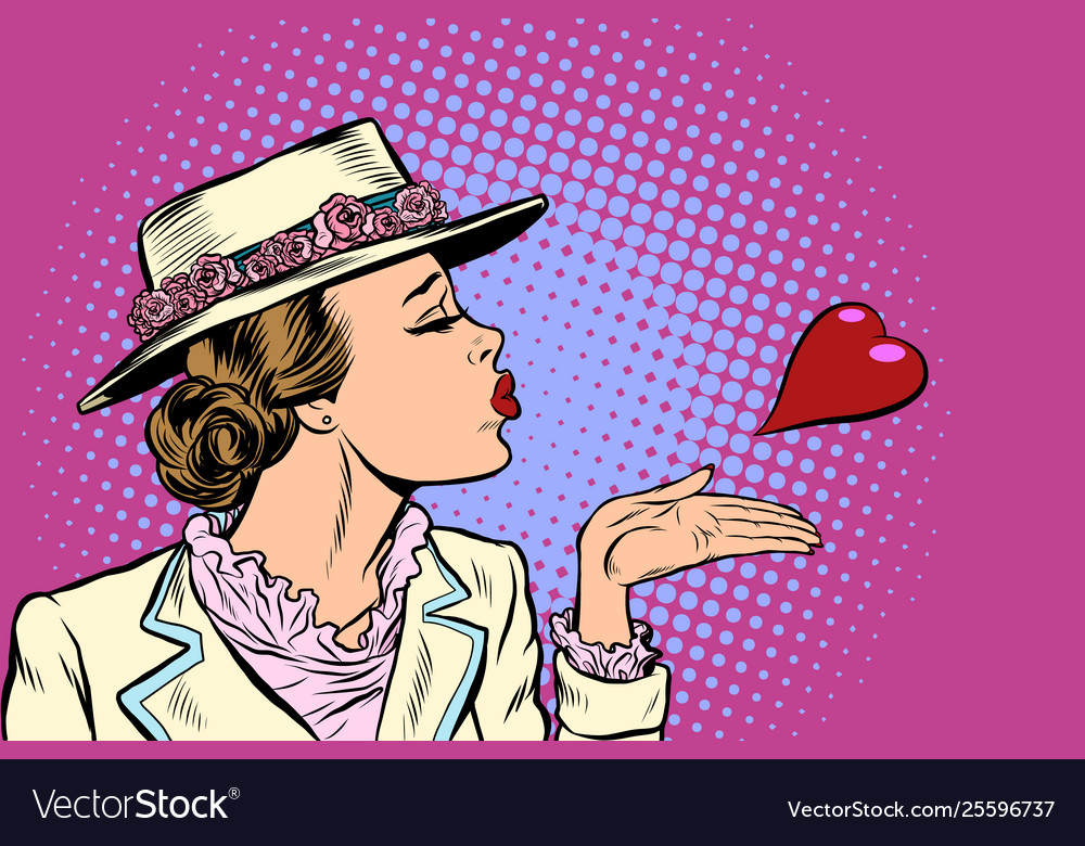 Retro woman blowing a kiss