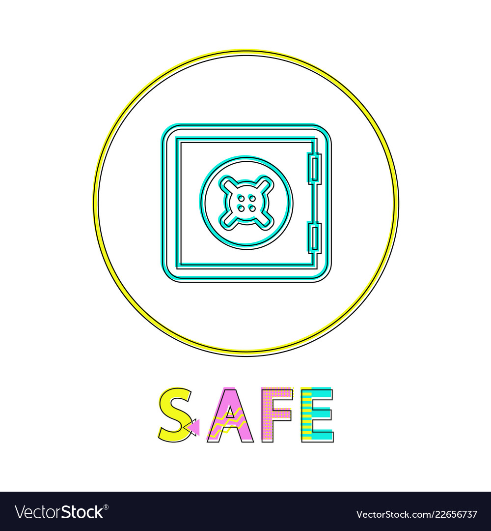 Safe logotype with round border colorful poster