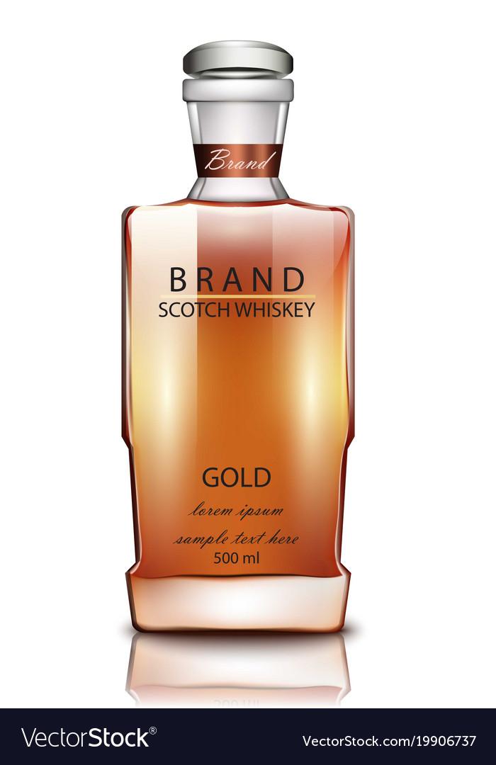 Scotch whiskey brand bottle realistic