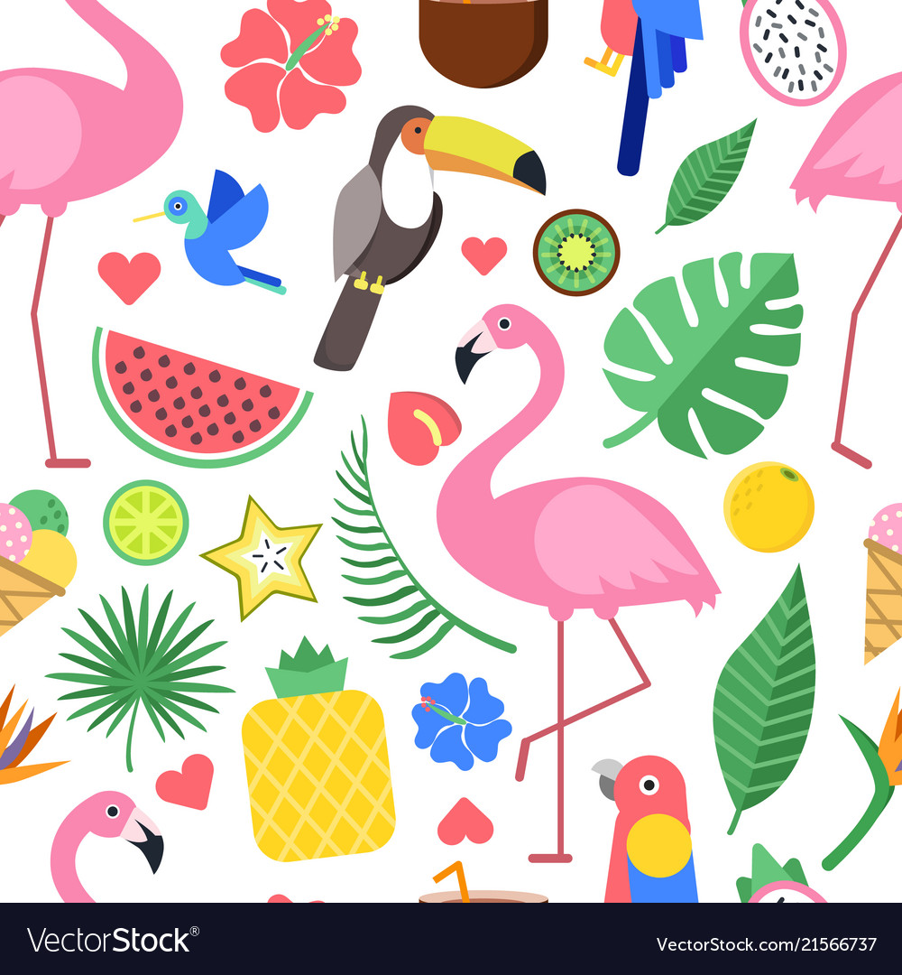 Seamless pattern with various pictures tropical