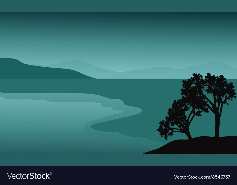 Silhouette of tree in the beach