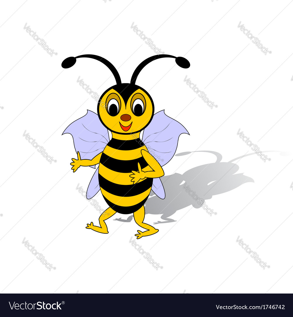 A funny cartoon bee isolated on a white background