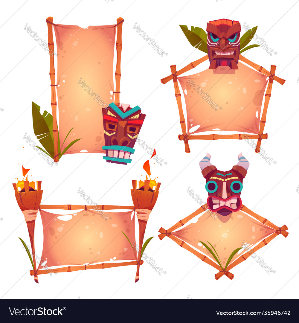 Bamboo frames with tiki mask parchments and torch