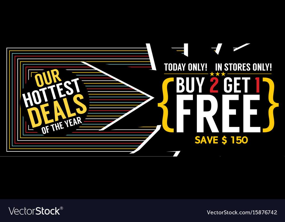 Buy 2 get 1 free 5000x1989 pixel banner vector image