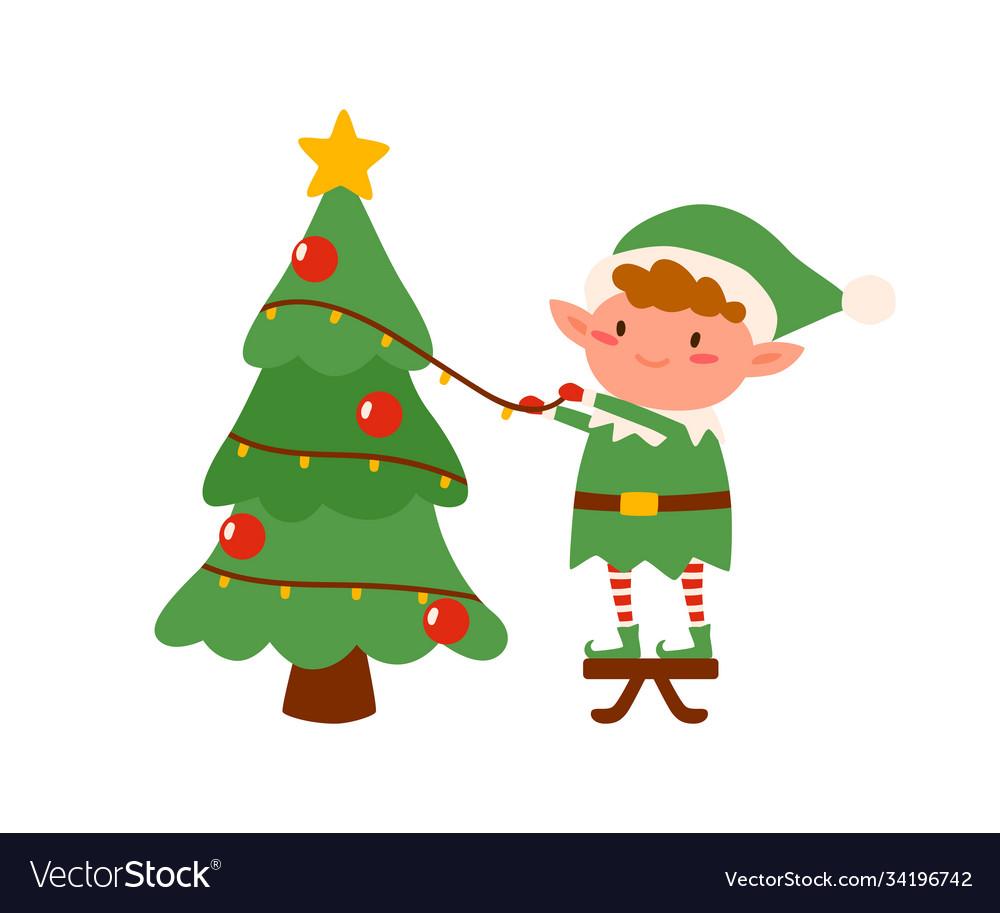 Childish elf decorating christmas tree flat
