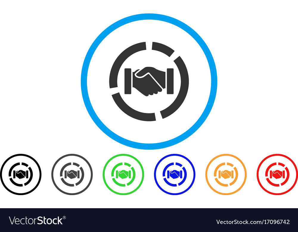 Cooperation Handshake Diagram Rounded Icon Vector Image On Vectorstock