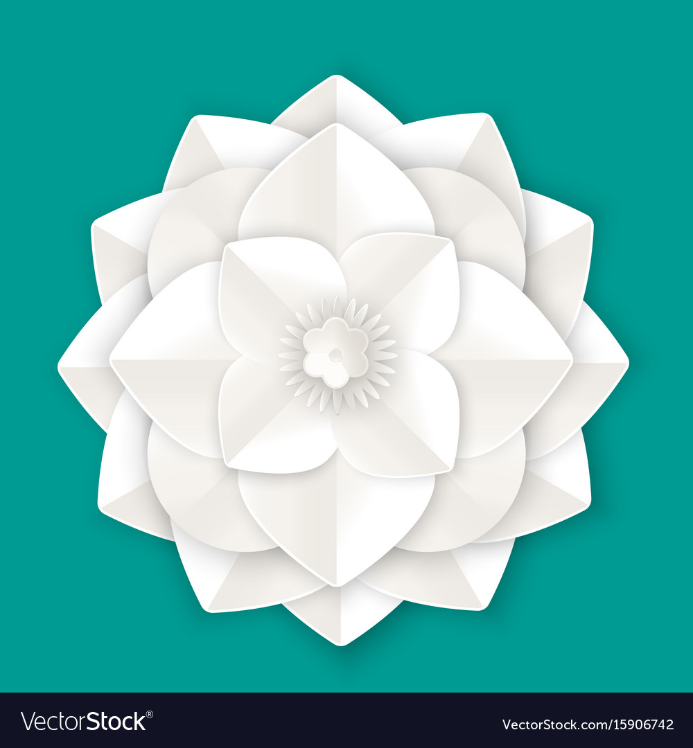 Flower with leaves made of paper sheet isolated vector image mightylinksfo