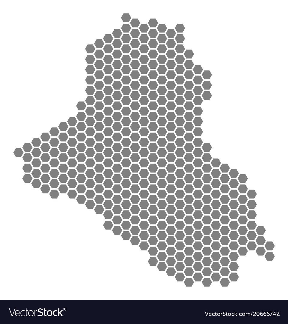 Gray hexagon iraq map Royalty Free Vector Image
