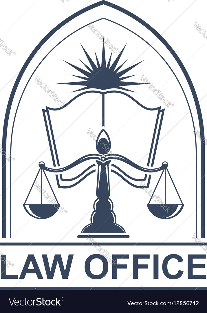 Lega center or law office icon with scale and book