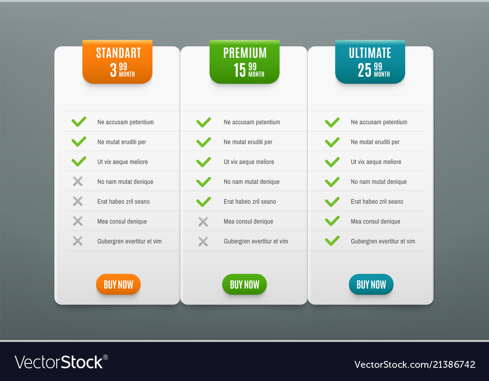 Price plans comparison infographic tab with 3