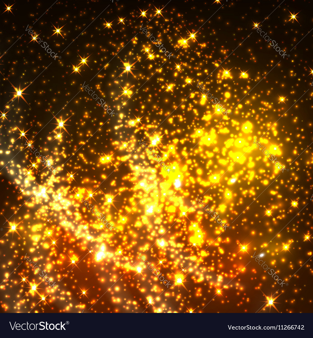 Shiny gold glittering light particles