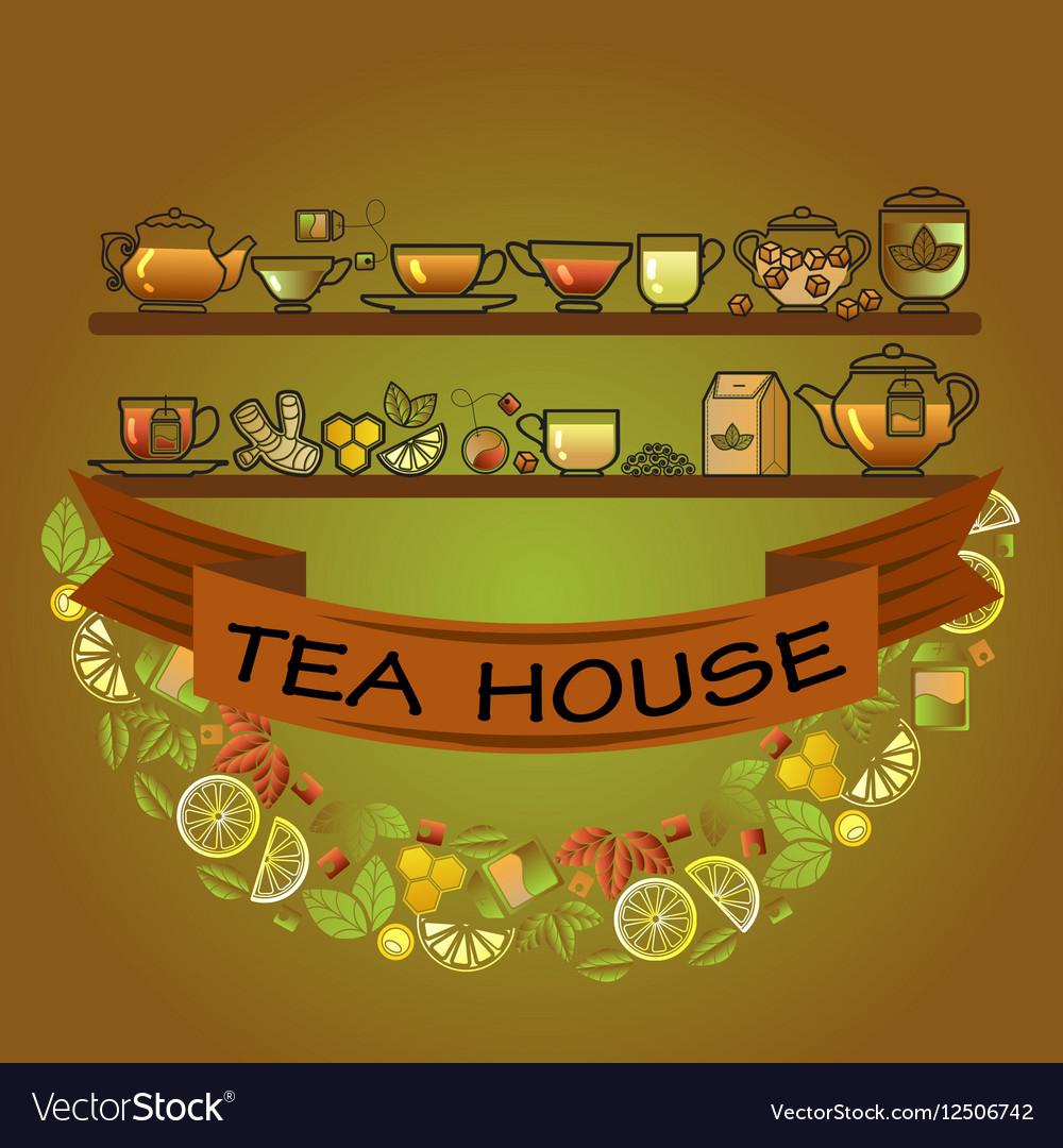 Tea house card Cup leaf lemon pot and brown vector image