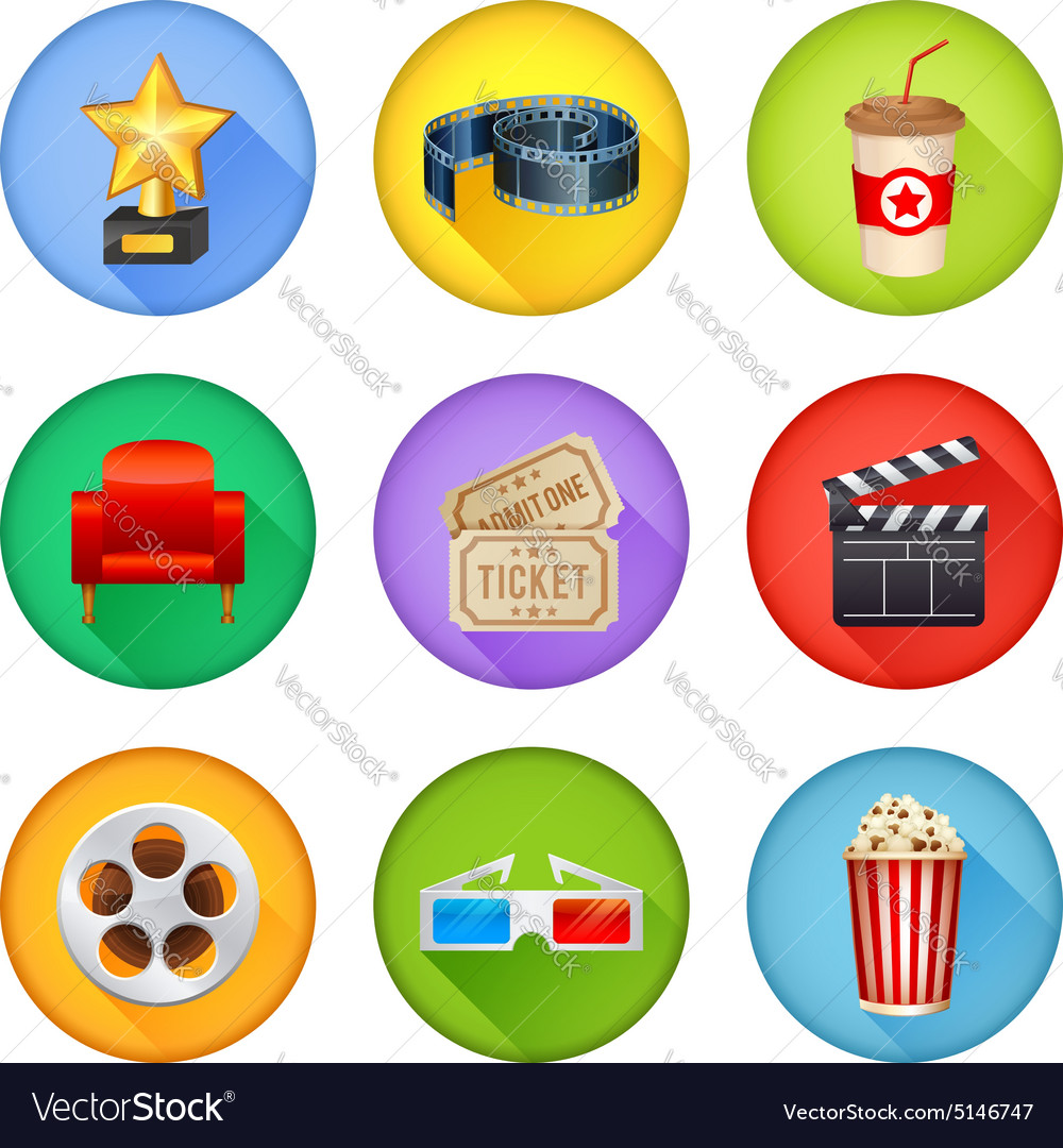 A detailed set of realistic cinema icons for web