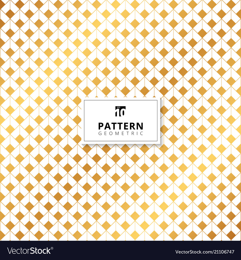 Abstract gold squares dimension pattern on white