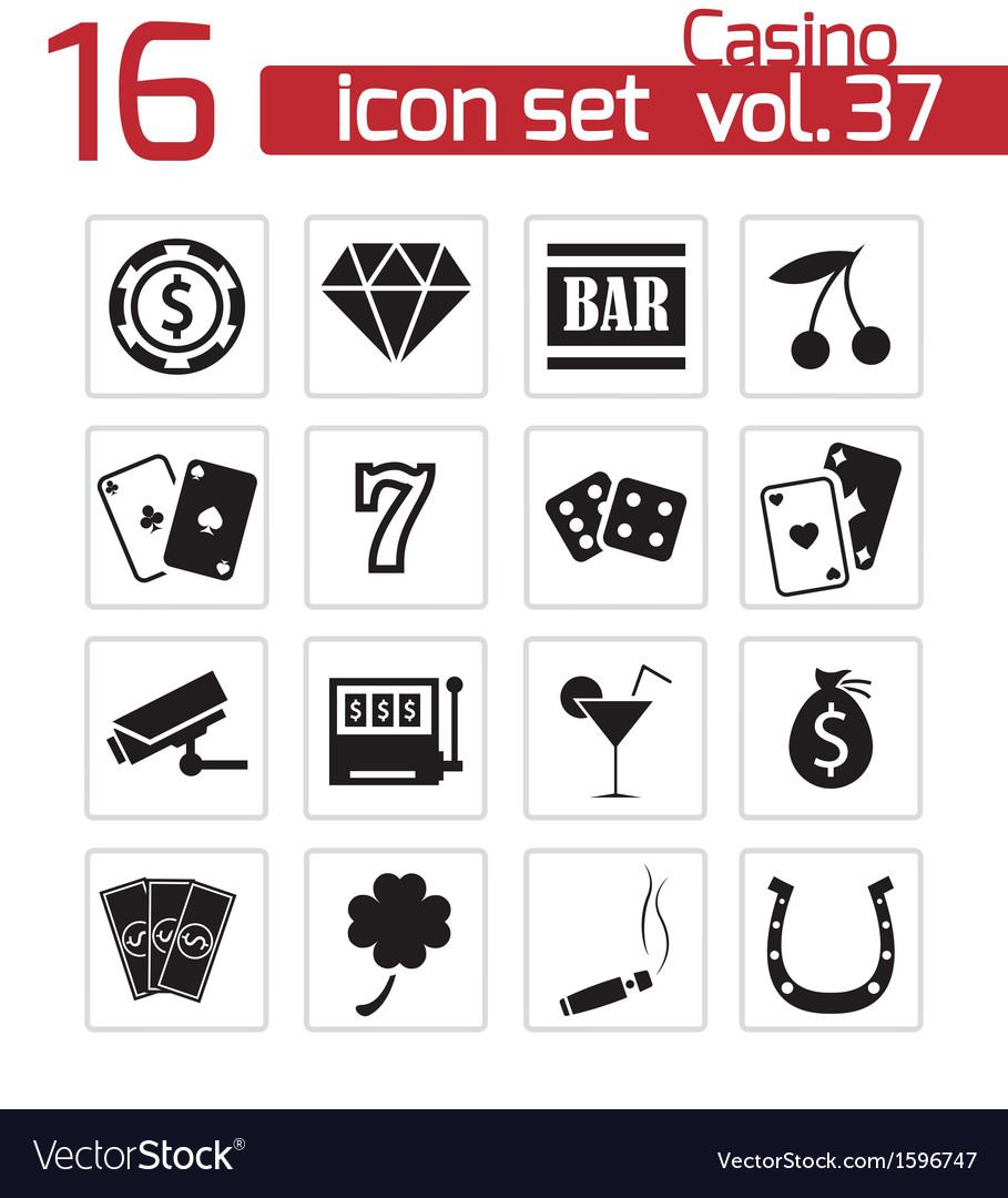 Black casino icons set