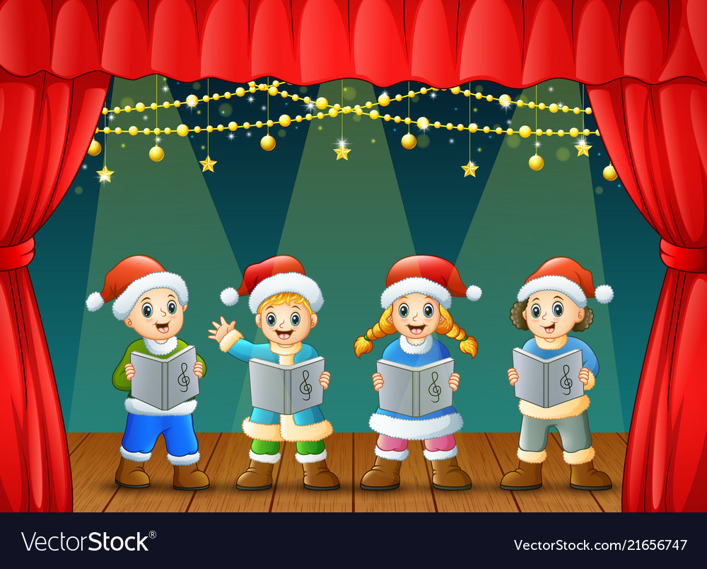 Cartoon children singing christmas carols on the s