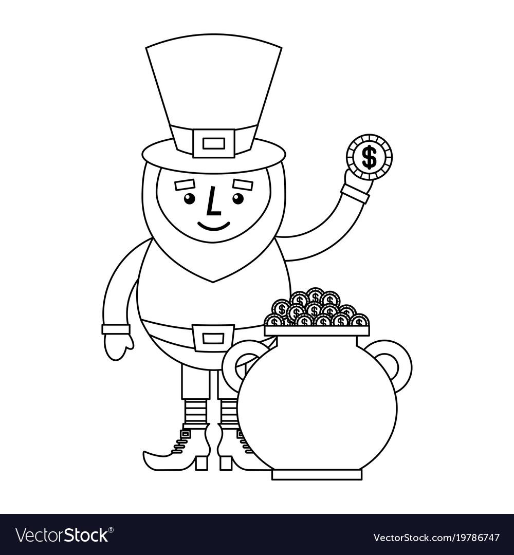 Cartoon leprechaun holding coin and pot money st