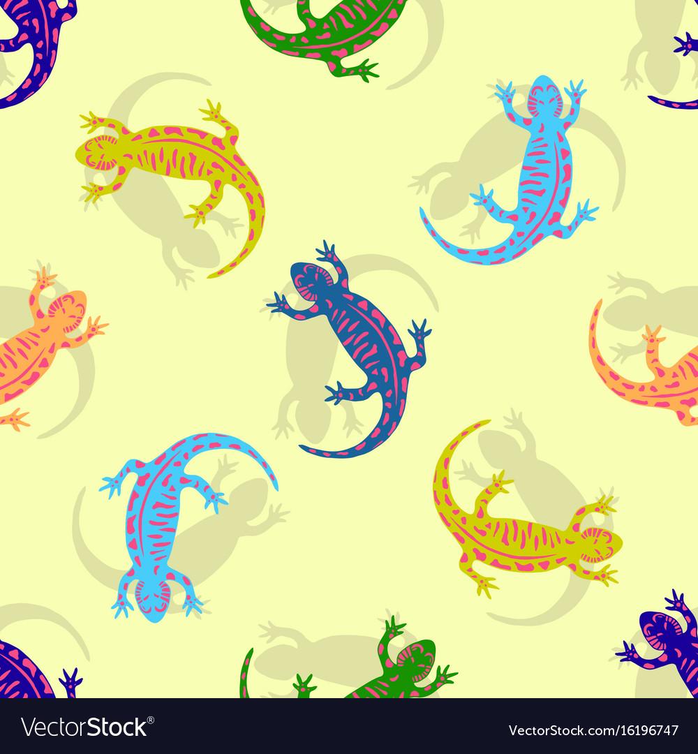 Hand drawn colorful salamander seamless pattern vector image