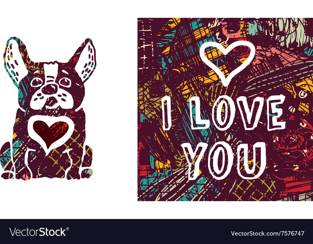 I love you greeting card dog and heart
