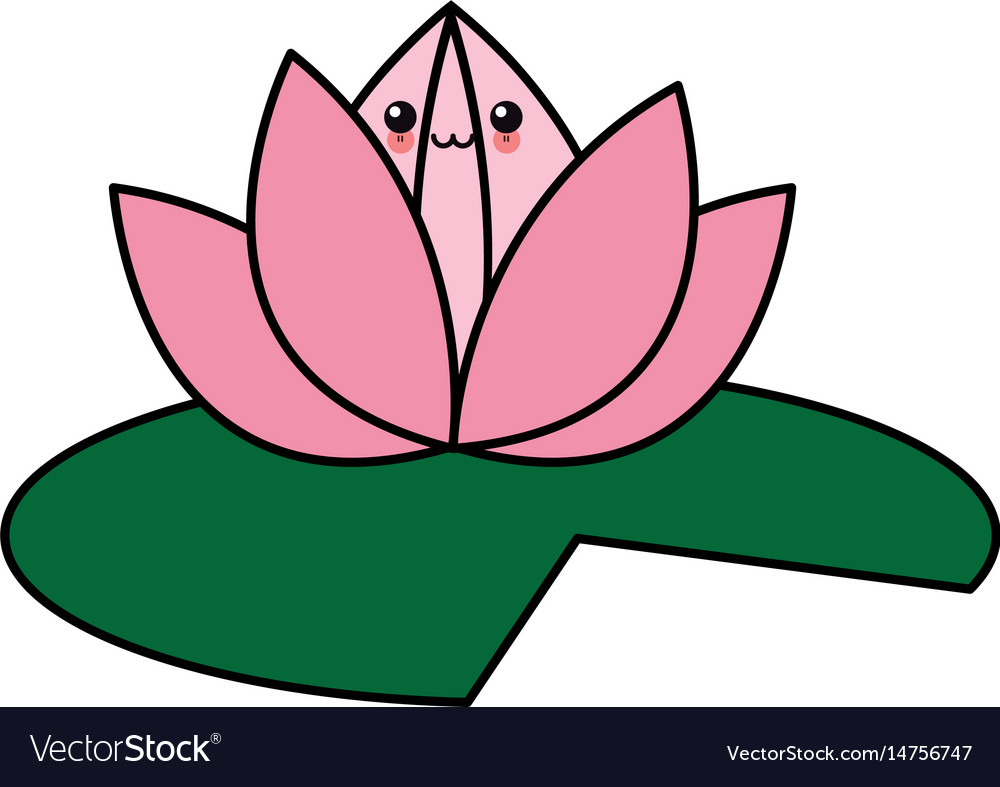 Kawaii Flower Lotus Cartoon Design Royalty Free Vector Image