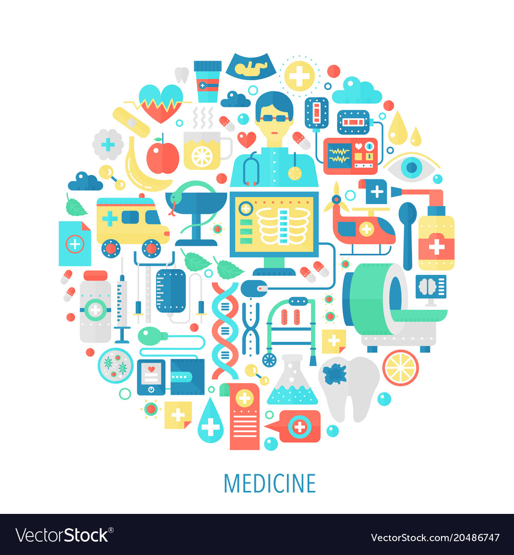 Medical and healthcare flat infographics icons in vector image